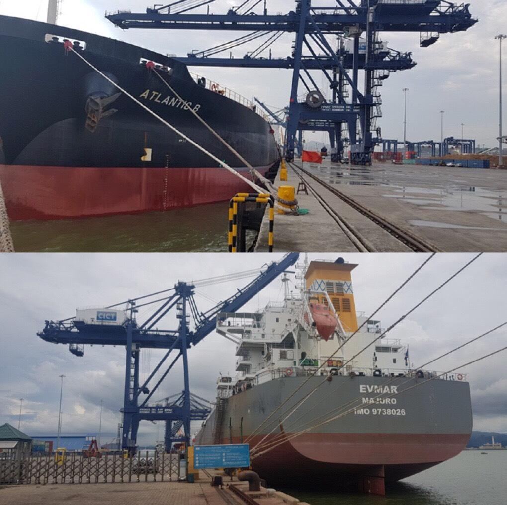 Tầu ATLANTIC & EVMAR Ngô + Khô Đậu Cảng CICT